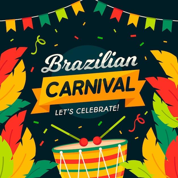 Kolorowy Brazylijski Karnawał W Płaskiej Konstrukcji Darmowych Wektorów