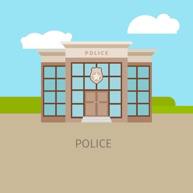 Kolorowy Budynek Policji Miejskiej Premium Wektorów