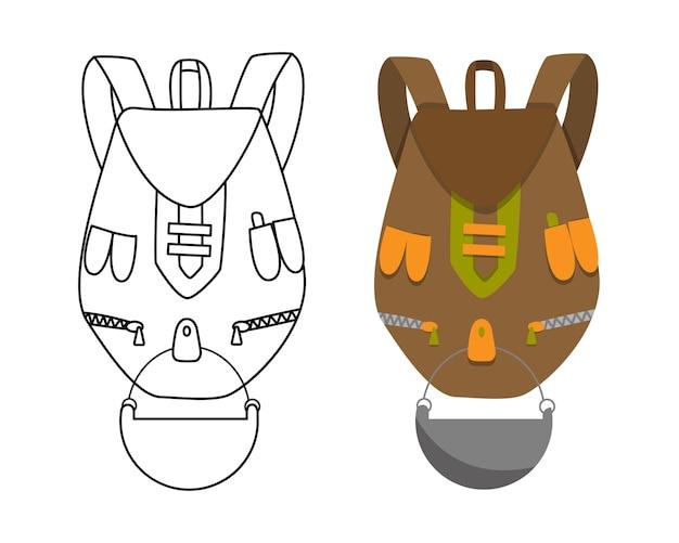 Kolorowy campingowy plecak w płaskim projekcie z kolorystyka wektoru ilustracją. plecak turystyczny retro. plecak turystyczny w klasycznym stylu. torba obozowa i wędrowna oraz plecak. Premium Wektorów