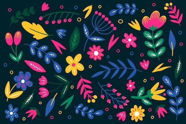 Kolorowy Ditsy Kwiatowy Wzór Tła Darmowych Wektorów