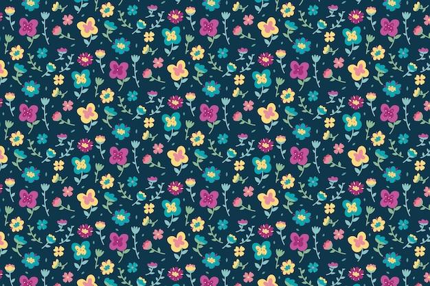 Kolorowy Ditsy Tle Kwiatów Darmowych Wektorów