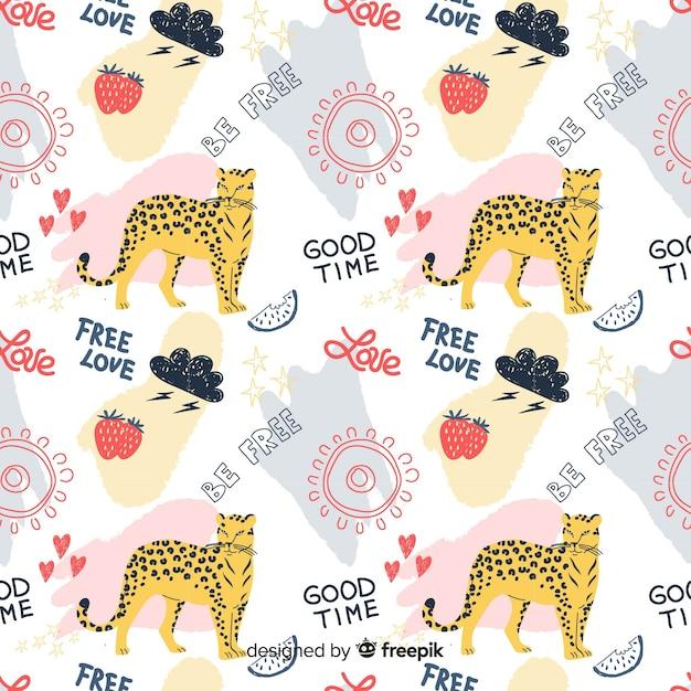 Kolorowy doodle gepard i słowa wzór Darmowych Wektorów