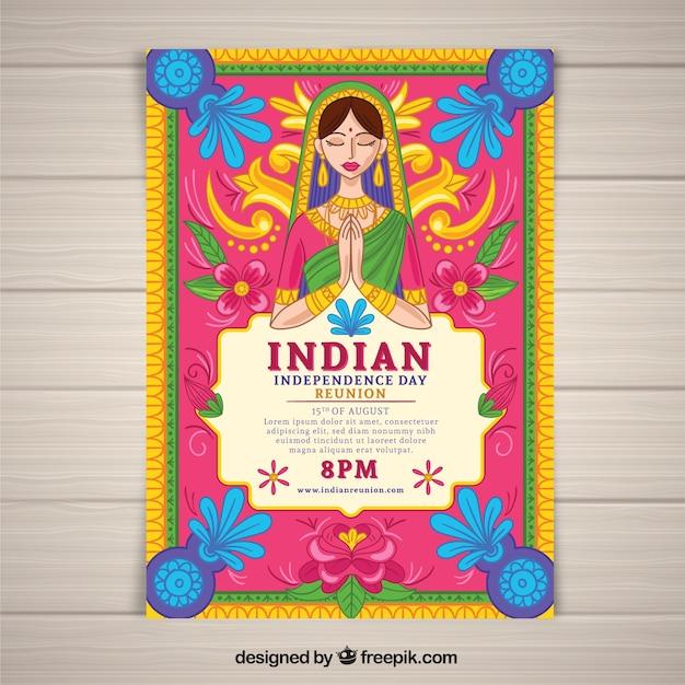 Kolorowy dzień niepodległości indii plakat Darmowych Wektorów