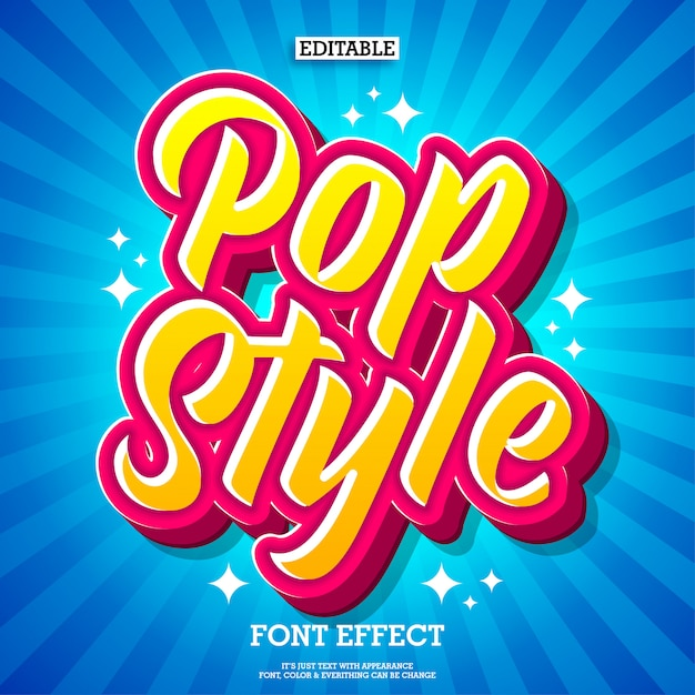 Kolorowy efekt tekstu w stylu pop Premium Wektorów