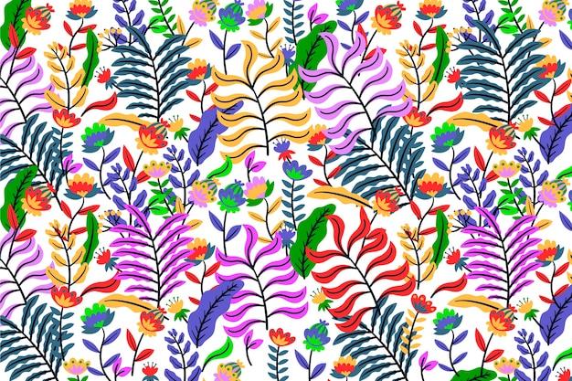 Kolorowy Egzotyczny Kwiecisty Tło Z Neonowym Darmowych Wektorów