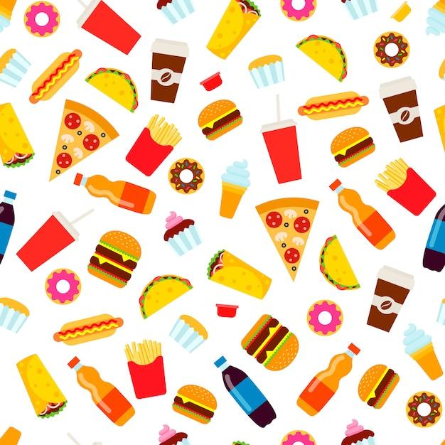 Kolorowy fast food bezszwowy wzór. Premium Wektorów