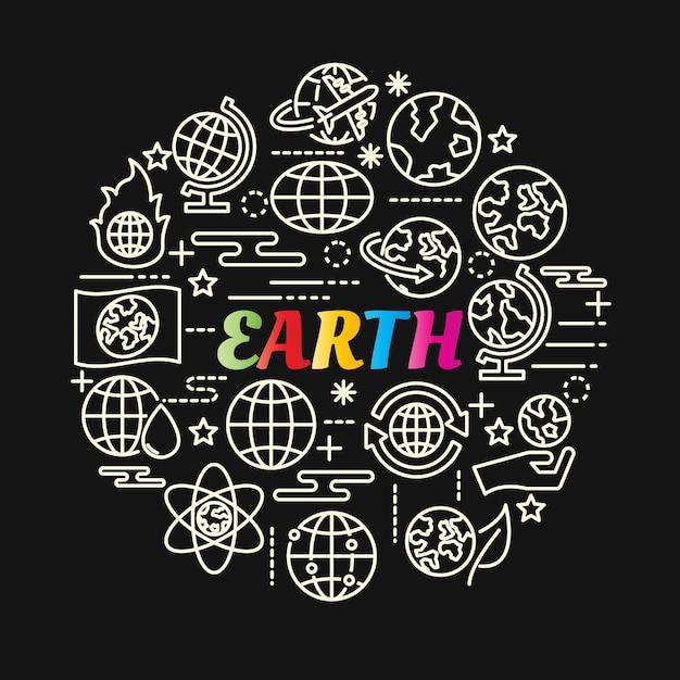 Kolorowy Gradient Ziemi Z Zestaw Ikon Linii Premium Wektorów