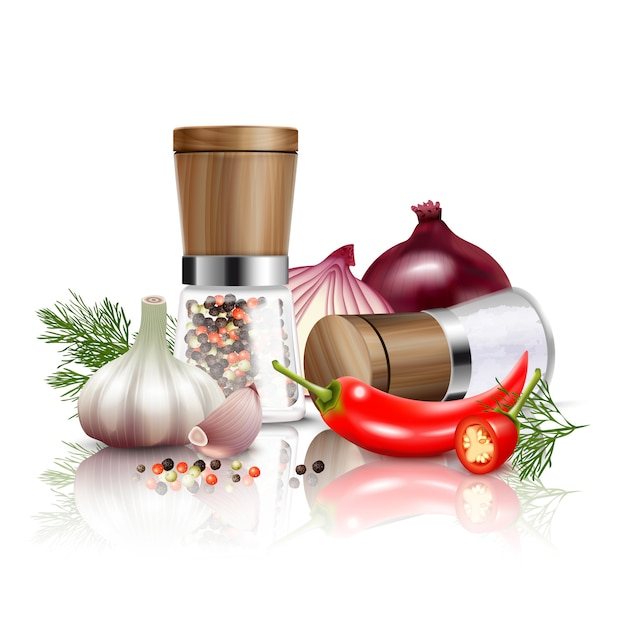 Kolorowy i realistyczny skład warzyw przyprawy ze świeżych warzyw i aromatów do ilustracji wektorowych potraw Darmowych Wektorów