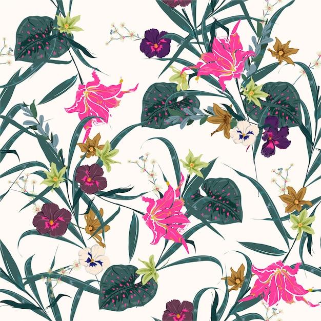 Kolorowy I świeży Las Botaniczny Wektor Bez Szwu Roślin Kwiatowy Wzór. Egzotyczny Kwitnienie Wiele Kwiatów Ilustracyjnych Jakby. Projektowanie Tkanin, Sieci, Mody I Wszystkich Nadruków Premium Wektorów