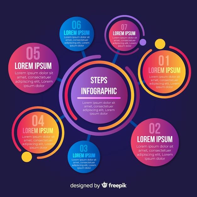 Kolorowy infographic kroków projekta szablon Darmowych Wektorów