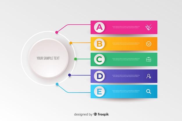 Kolorowy infographic szablonu płaski projekt Darmowych Wektorów