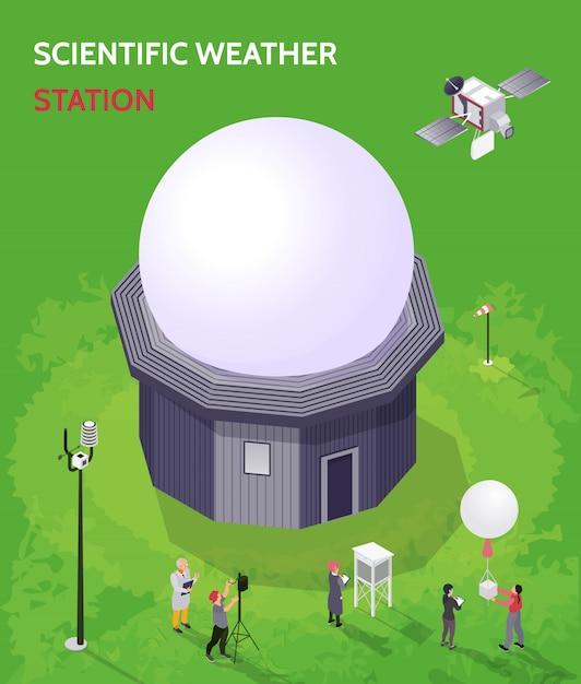 Kolorowy Izometryczny Skład Meteorologicznego Centrum Meteorologicznego Z Naukowym Opisem Stacji Meteorologicznej Darmowych Wektorów