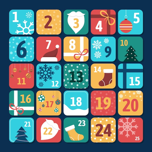 Kolorowy kalendarz adwentowy w płaskiej konstrukcji Darmowych Wektorów