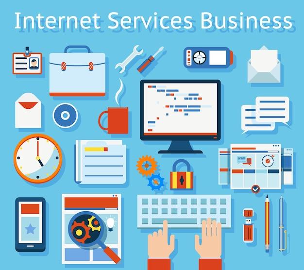 Kolorowy Koncepcja Biznesowa Usługi Internetowe Na Jasnoniebieskim Tle. Darmowych Wektorów