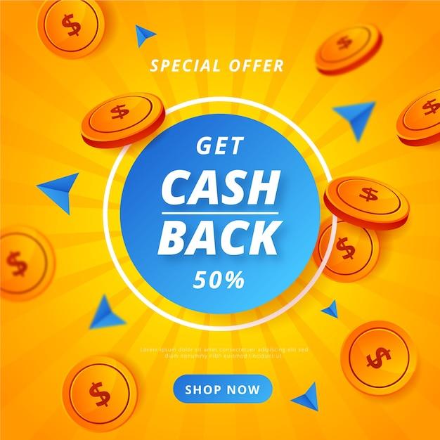 Kolorowy Koncepcja Cashback Z Monetami Darmowych Wektorów