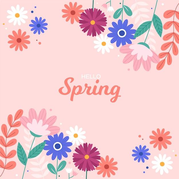 Kolorowy Koncepcja Witaj Wiosna Darmowych Wektorów