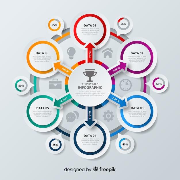 Kolorowy krok infographic szablon Darmowych Wektorów