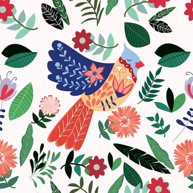 Kolorowy lato ptak w kwiatu ogródzie Premium Wektorów