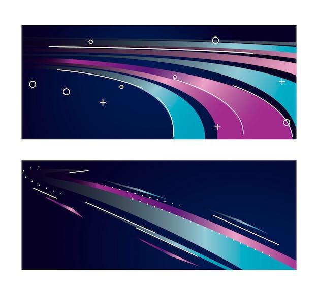 Kolorowy Lekki Szlak W Fioletowym I Niebieskim Kolorze Premium Wektorów