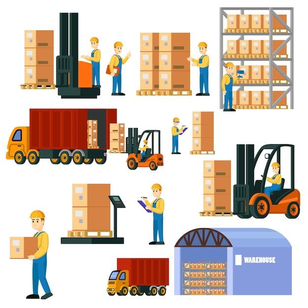 Kolorowy Magazyn Logistyczny Zestaw Darmowych Wektorów