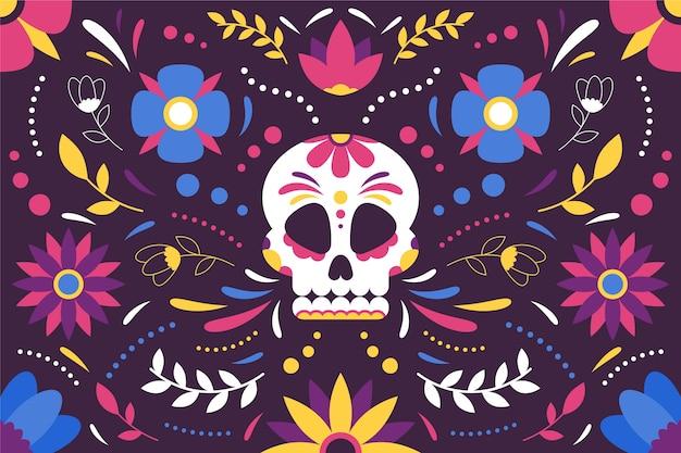 Kolorowy Meksykański Tło Z Czaszką Darmowych Wektorów
