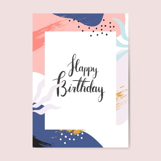 Kolorowy memphis projektuje wszystkiego najlepszego z okazji urodzin karcianego wektor Darmowych Wektorów