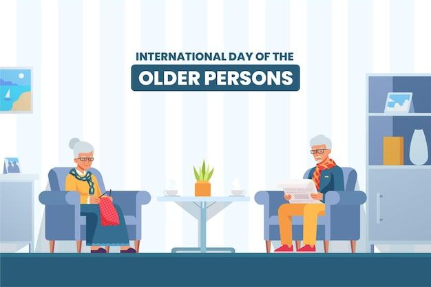 Kolorowy Międzynarodowy Dzień Ilustracji Osób Starszych Darmowych Wektorów