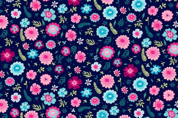 Kolorowy Motyw Tła Z Motywem Kwiatowym Darmowych Wektorów