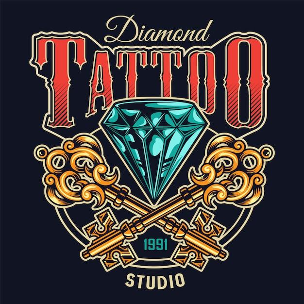 Kolorowy Nadruk Studio Tatuażu W Stylu Vintage Darmowych Wektorów