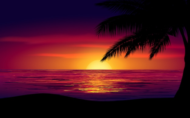 Kolorowy Niebo Zmierzch Przy Morzem Z Drzewkiem Palmowym Premium Wektorów