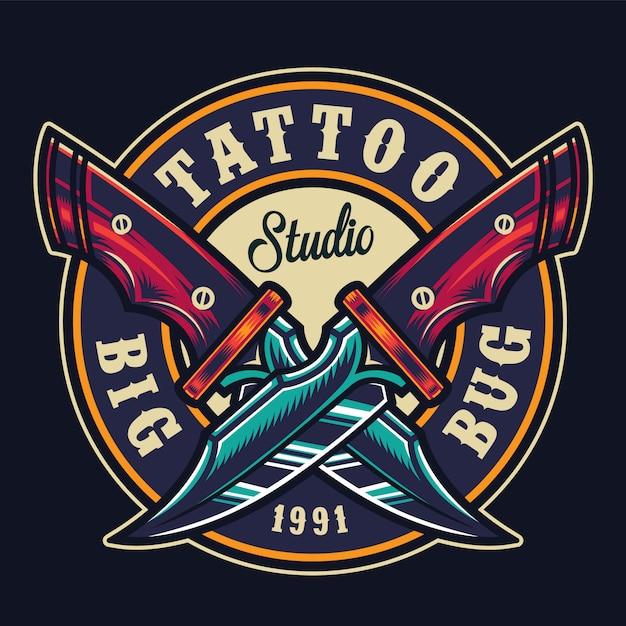 Kolorowy Okrągły Nadruk Studio Tatuażu Darmowych Wektorów