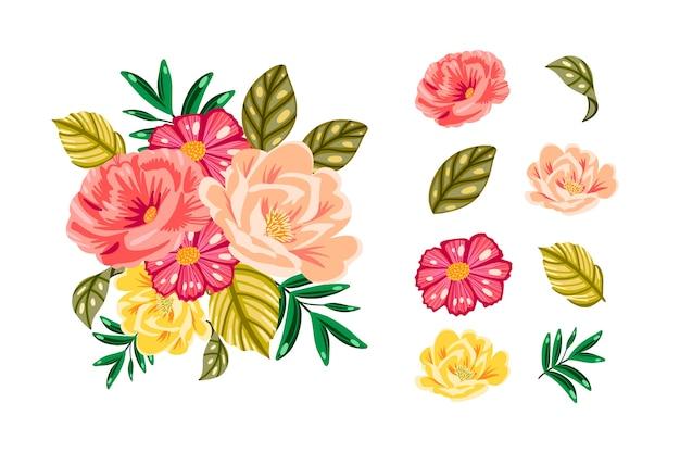 Kolorowy Pakiet 2d Kwiatowy Bukiet Darmowych Wektorów