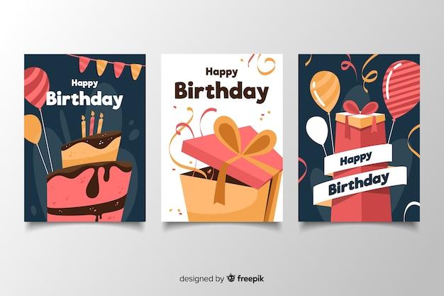 Kolorowy pakiet kart urodzinowych w płaskiej konstrukcji Darmowych Wektorów