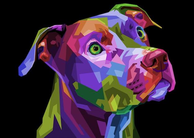Kolorowy Pies Pitbull Terrier Na Geometrycznym Pop-artu. Ilustracja Premium Wektorów