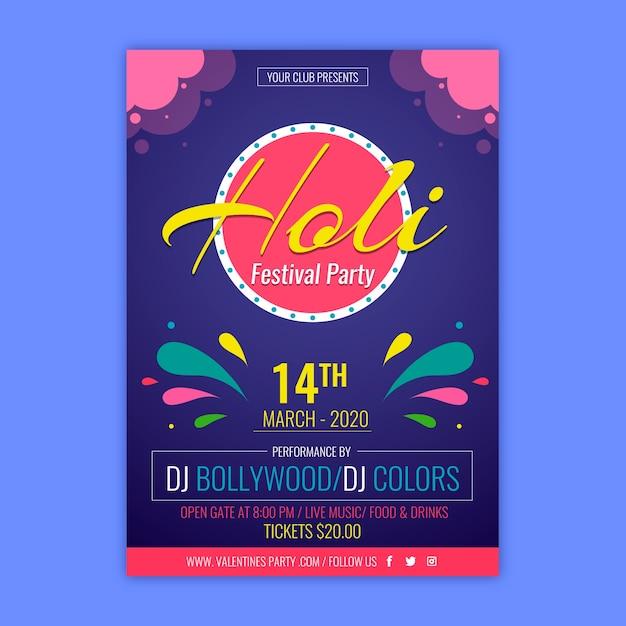 Kolorowy Plakat Festiwalowy Na Imprezę Holi Darmowych Wektorów