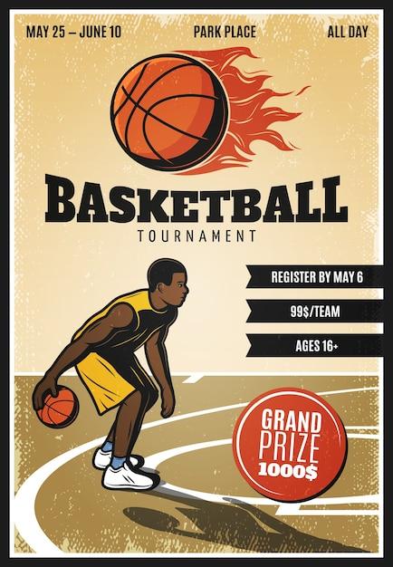 Kolorowy Plakat Mistrzostw Koszykówki Rocznika Darmowych Wektorów