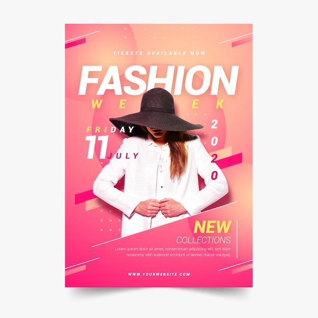 Kolorowy Plakat Mody Ze Zdjęciem Darmowych Wektorów