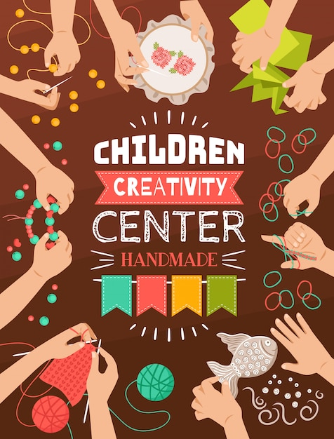 Kolorowy Plakat Płaski Projekt Kreatywnego Studio Ręcznie Dla Dzieci Darmowych Wektorów