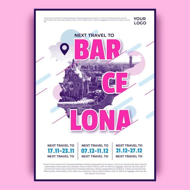 Kolorowy Plakat Podróży Barcelona Darmowych Wektorów