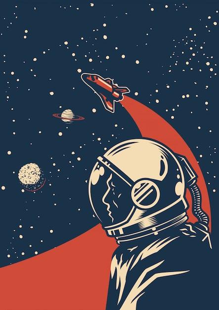 Kolorowy Plakat Starodawny Galaktyki Premium Wektorów