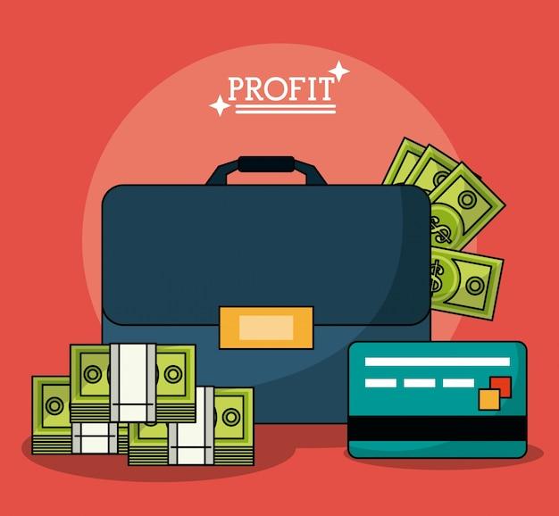 Kolorowy Plakat Z Teczką Pieniędzy Zysku I Karty Kredytowej