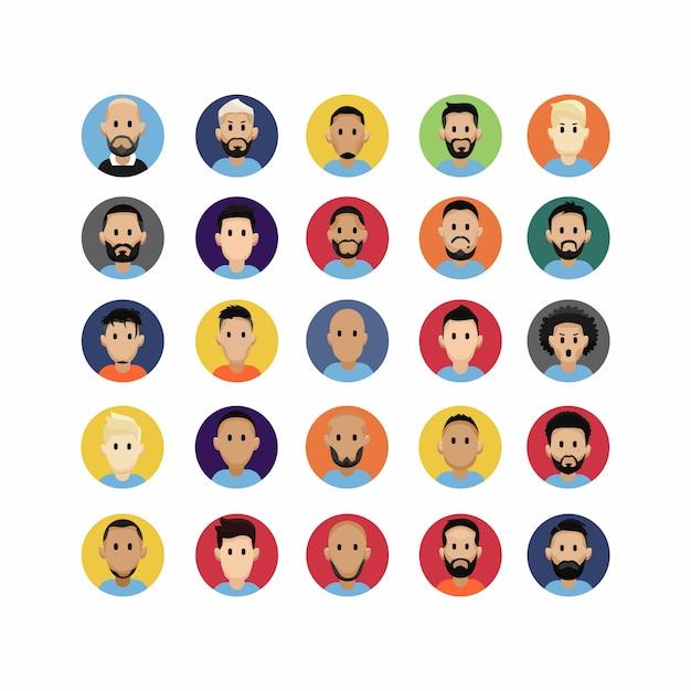Kolorowy Płaski ładny Twarz Avatar Znaków Premium Wektorów