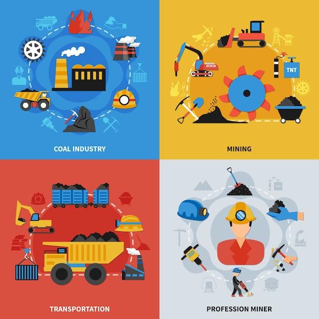 Kolorowy Płaski Zestaw Ilustracji 2x2 Z Górnikami Przemysłu Wydobywczego Węgla I Elementami Transportu Darmowych Wektorów