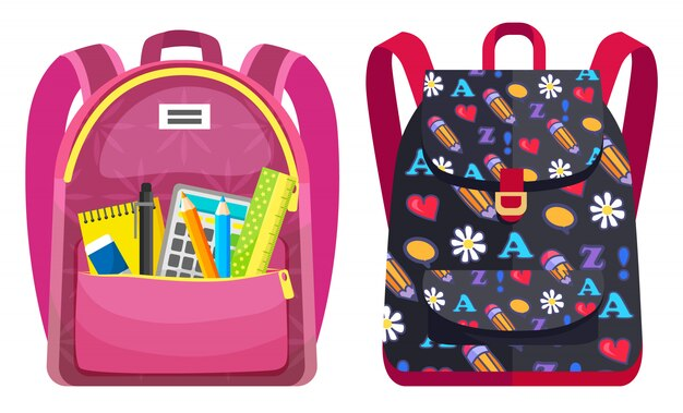Kolorowy plecak szkolny powrót do szkoły Premium Wektorów