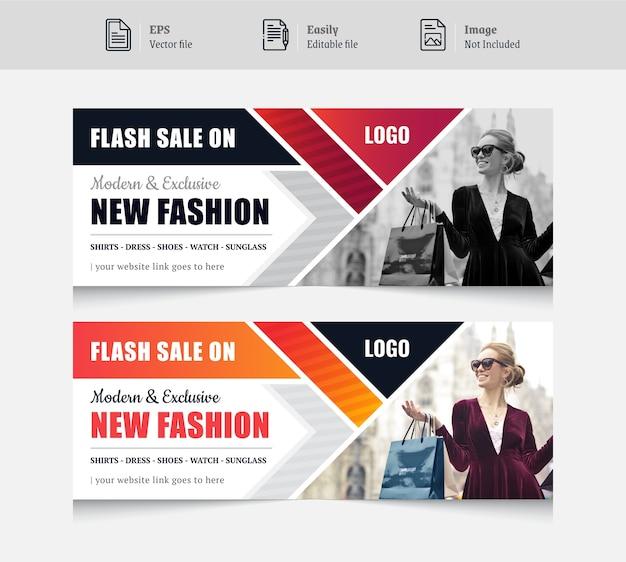 Kolorowy Projekt Banera W Mediach Społecznościowych Dla Mody Premium Wektorów