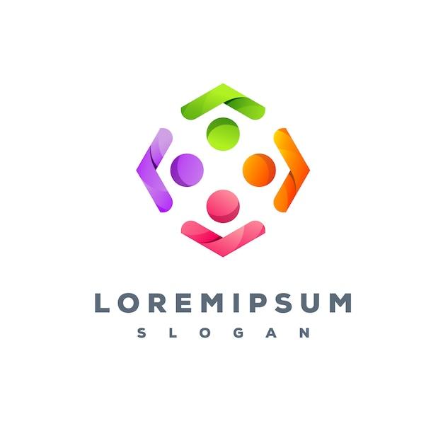 Kolorowy Projekt Logo Zespołu Gotowy Do Użycia Premium Wektorów