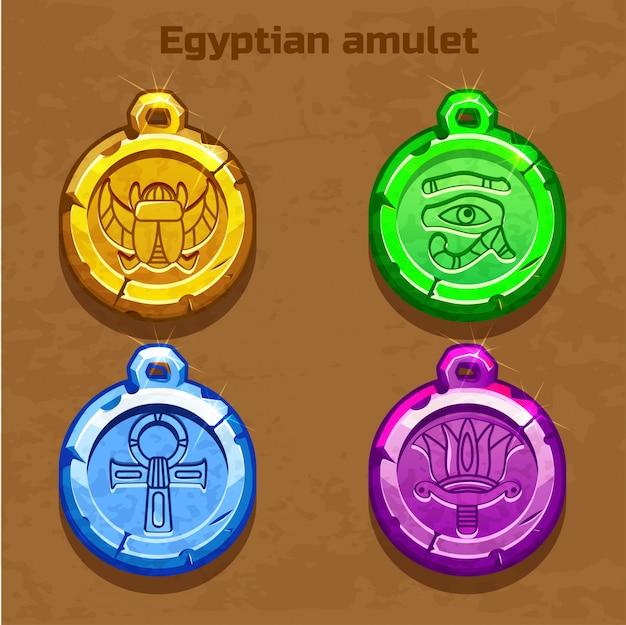 Kolorowy Stary Egipski Amulet Premium Wektorów