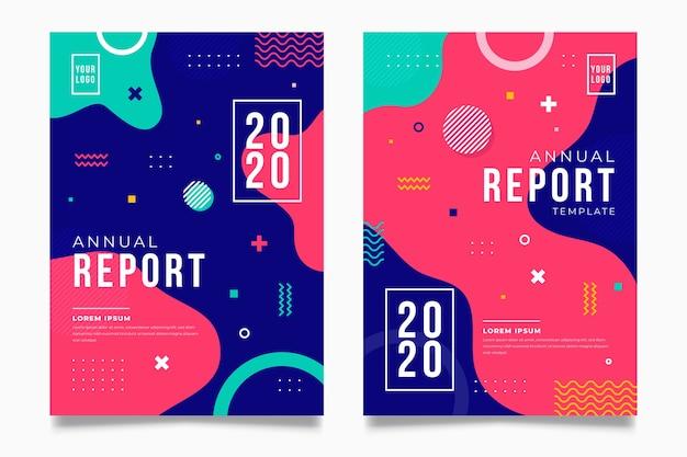 Kolorowy Streszczenie Rocznego Raportu Szablon Darmowych Wektorów