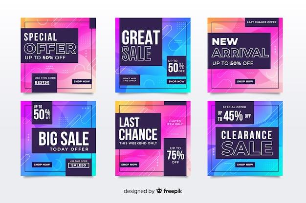 Kolorowy streszczenie sprzedaż instagram post zestaw Darmowych Wektorów
