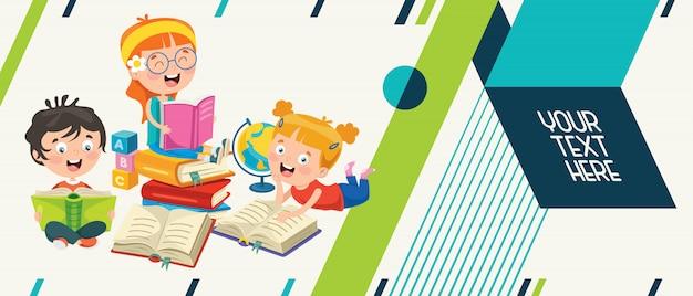 Kolorowy Streszczenie Transparent Dla Edukacji Dzieci Premium Wektorów